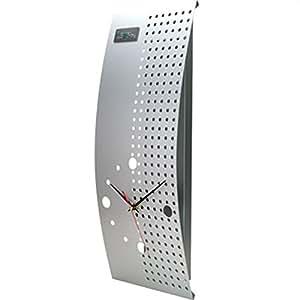 LEON (レオン) 時計 おしゃれ 壁掛け シンプル 四角 掛け時計 置き時計 シルバー CM103
