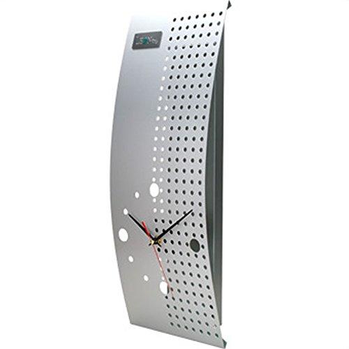 LEON 時計 おしゃれ 壁掛け シンプル 四角 掛け時計 置き時計 シルバー CM103