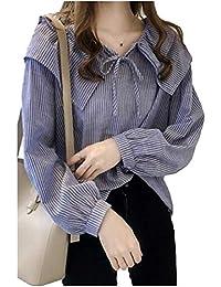 [フェイミー] 肩 フリル 爽やか プルオーバー ボウタイ 長袖 ゆったり かわいい バルーン袖 鎖骨見せ レディース