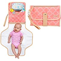 Portable Baby Diaper Changing Clutch Pad for Diaper Bag | Pink | Waterproof Easy Clean Liner & Head Cushion | Travel Organizer with Stroller Strap | Girl
