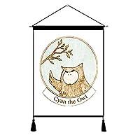 [QIFENGDIANZI]タペストリー 壁掛け 掛け物 タッセル 組立式 自然 北欧 漫画 動物 簡約 おしゃれ モダン インテリア 新居祝い 玄関 部屋 タペストリー棒 掛け軸 柄1589 横45cm*縦65cm
