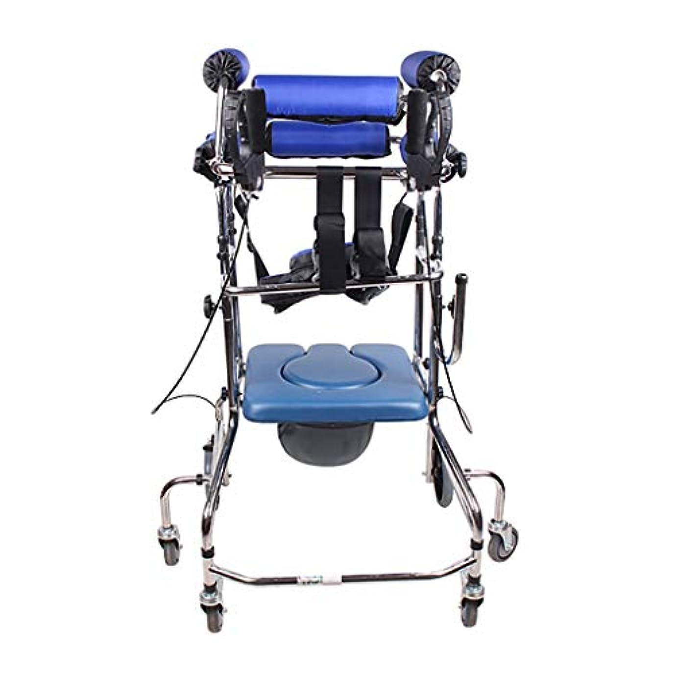マントルカテゴリーテロリストスタンディングウォーキングラック/ウォーカー/身体障害者用手すり車椅子立ちベッド青6ラウンドハンドブレーキプラスフットブレーキトイレに追加