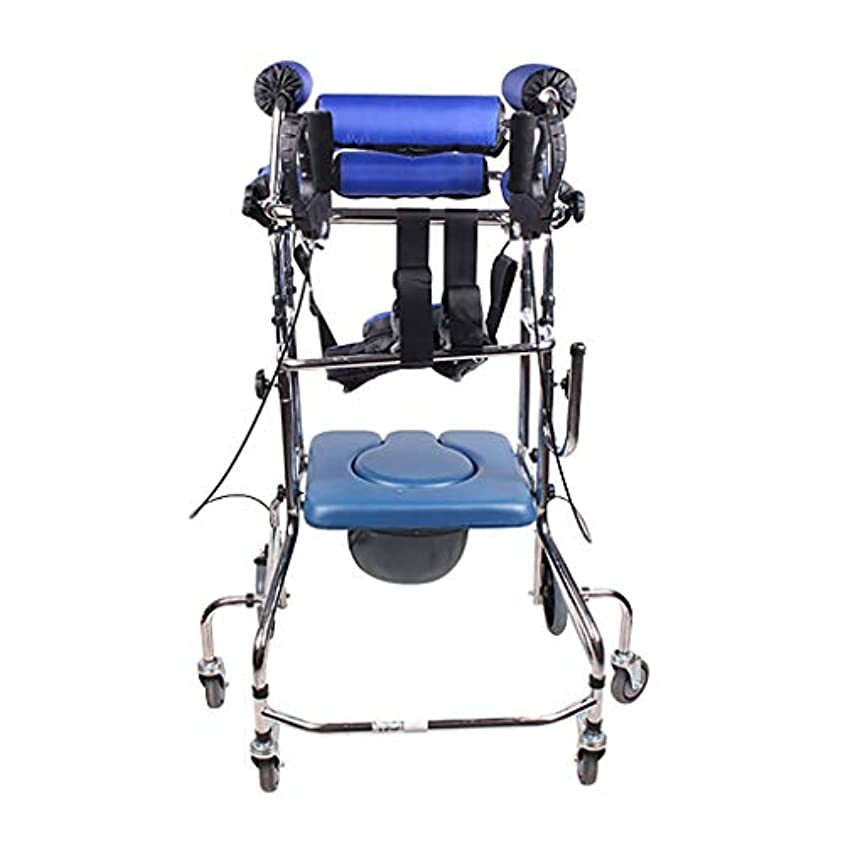 削る貧困鷲スタンディングウォーキングラック/ウォーカー/身体障害者用手すり車椅子立ちベッド青6ラウンドハンドブレーキプラスフットブレーキトイレに追加
