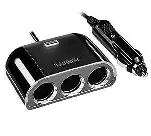 AVANTEK シガーソケット カーチャージャー 3つソケット USBポート付き ブラック R23