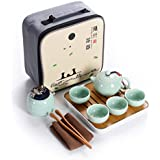 Hoobar Ceramic Kungfu Tea Set,Portable Travel Tea Set with Teapot,Teacups,Tea Canister,Tea Tray and Travel Bag,Suitable for Travel, Home,Outdoor and Office (Green)