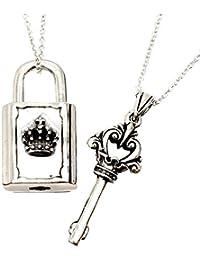 ジナブリング (JINA BRING) ペアネックレス シルバー925 ホントに開く クラウン 南京錠と鍵 チェーン付き ペア ペンダント カップル