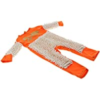Dolity Baby Mop Romper Outfit Boy Girl Polishes Floors Cleaning Crawling Swob Jumpsuit - Orange+Beige 80cm, as described