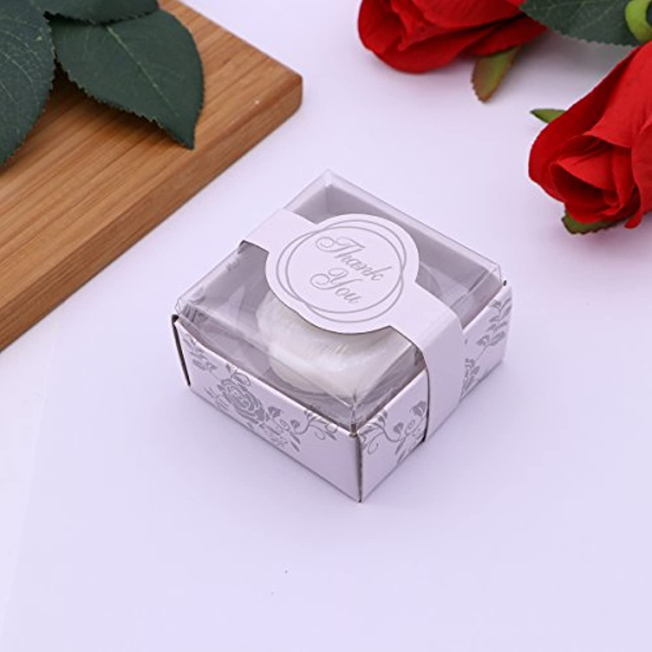 Amosfun 手作り石鹸オイルローズフラワーソープアロマエッセンシャルオイルギフト記念日誕生日結婚式バレンタインデー(ホワイト)20ピース