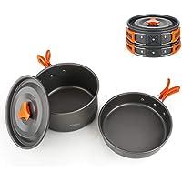 BGVANG キャンプクッカー アルミクッカーセット コッへル キャンプ 鍋 セット アウトドア 調理器具 登山 食器 BBQ 用品 2-3 人に適応 収納袋付き