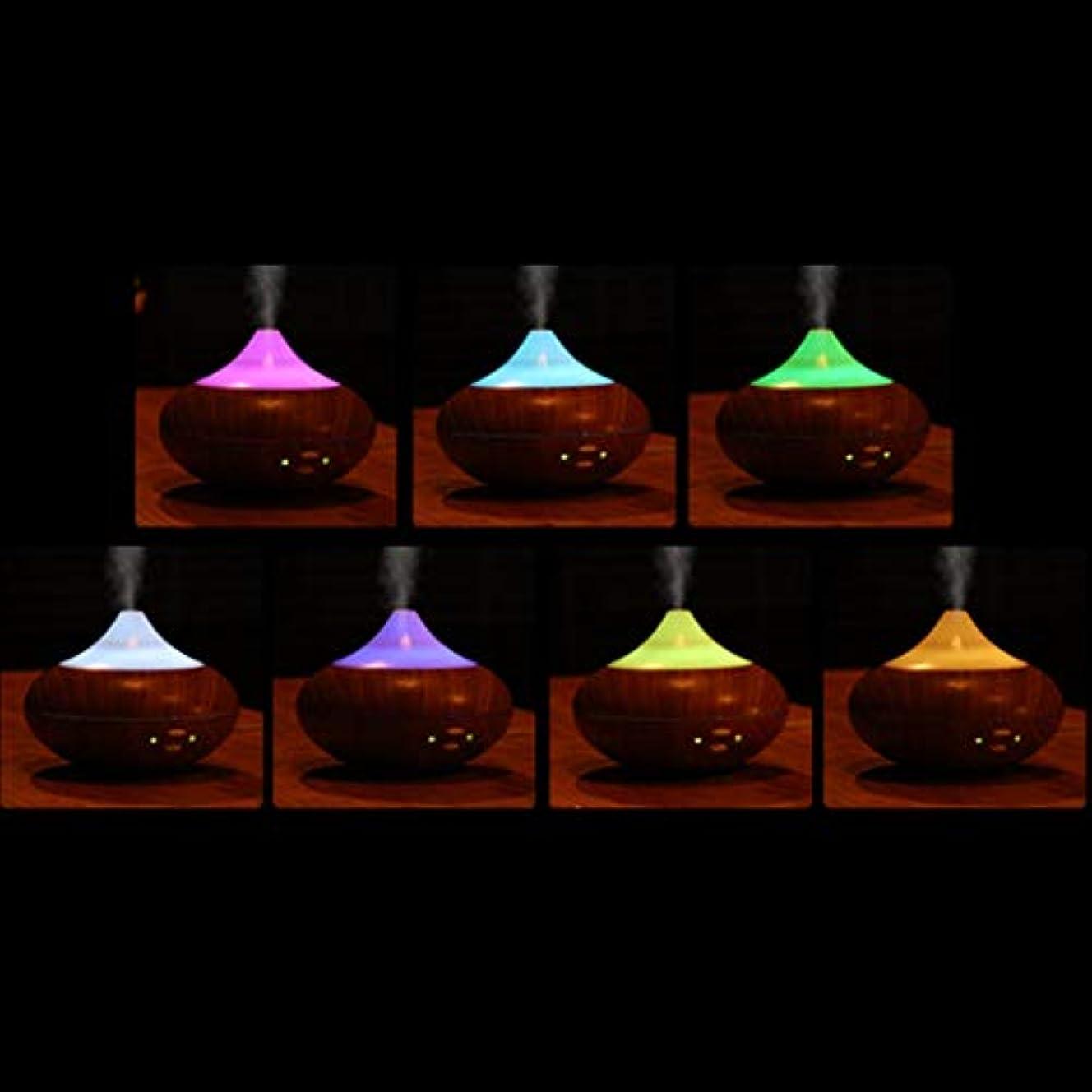 染色だらしない確執ウッドカラーled超音波サウンドスマートアロマディフューザーエッセンシャルオイルエアディフューザー加湿器アロマミスト用ホームオフィス(ウッドカラー)