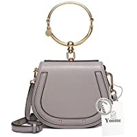 Yoome Elegant Rivets Punk Style Circular Ring Handle Handbags Messenger Crossbody Bags For Girls