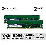 Timetec Hynix IC 32GB(2x16GB) サーバー用メモリ DDR4 2400MHz PC4-19200 Unbuffered ECC 1.2V CL17 288 Pin UDIMM Server メモリ 永久保証 (32GB(2x16GB))