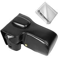 FIRST2SAVVV 黒 Nikon D7500 (18-140mm Lens) 専用 PU 半分レザー レフ カメラバッグ カメラケース +クリーニングクロス XJD-D7500-01