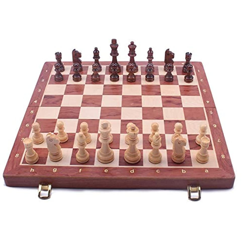 火炎名前で奨励しますKUQIQI ウォルナットチェスセット 木製折りたたみ大型のチェスセット手仕事のソリッドウッドの小品ウォルナットチェスボード39センチメートルキングサイズ8CM, チェス (色 : 39CM)
