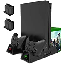 MENEEA Charging Stand for Xbox One/Xbox One S/Xbox One X Console and Controllers, Vertical Cooling Stand Accessories with 2 Cooling Fans,600 mAh Batteries 2 Pack,LED Indicators and Games Storage