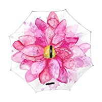 Mr.煌 逆さ傘 逆転傘 逆折り式傘 自立傘 満開のピンク色の花 水彩 絵 車用傘 C型手元 晴雨兼用 男女兼用 102018