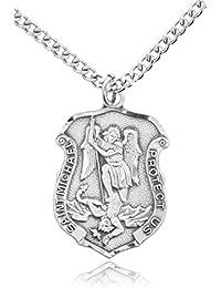Heartland 聖ミカエル柄 警察盾章型メダル 男性用スターリングシルバー製 メイドインUSA