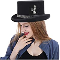 2020 Women Mens Wool Unisex Steampunk Hat Steam Punk Fedoras Top Fashion Casual Soft Decoration Lighting Adjustable Breathable Hat Topper (Color : Black, Size : 55cm)