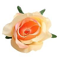 10個 バラ 造花 お花 フラワー シルクフラワー DIYブーケ コサージュ 髪飾り 衣装飾り コスプレ 多色選べ - オレンジ