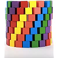 積み木 ブロック 知育 玩具 おもちゃ 赤ちゃん 幼児 木製 キューブ 100個 (カラフル)