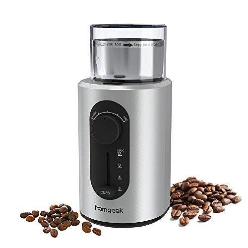 コーヒーミル 2019最新的な電動コーヒーミル ワンタッチ自動挽き 電動コーヒーグラインダー 杯数と粗さ調節可能 粉が散らず クリーニングブラシ付き 家庭主婦/ビジネスマンに