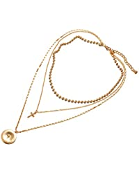 Adisaer-ゴールドメッキ ペンダント ネックレス レディース 夏のお手飾り ジュエリー ゴールド クロスとラウンドシェイプ3層ネックレス 特別な贈り物 母の日ギフト