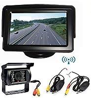 ワイヤレス車両バックアップカメラキット 4.3インチLCDモニター+ 18LED赤外線ナイトビジョン防水リバースバックアップカメラ 12V バス トラック トレーラー RVリアビューパーキングアシスタンスシステム