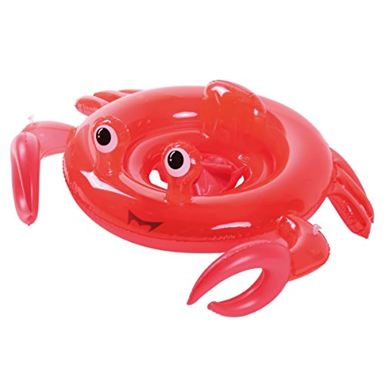 SHINING 浮き輪 子供用 足入れ式 内径35cm 足踏み式ポンプ付き 1才以上使用 暑さ対策 プール?海?川 水泳用品 可愛いデザイン (カニ 型)