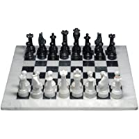 Marble Chess Set - White & Black, 15 with Deluxe Velvet Box by Wood Expressions [並行輸入品]