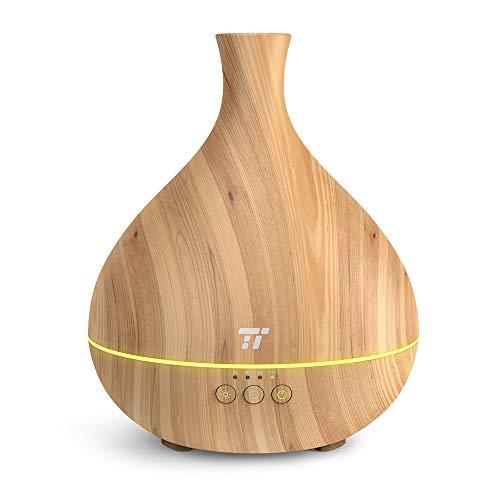 TaoTronics アロマディフューザー 加湿器 超音波式 卓上加湿器 500ml 空焚き防止 14色ライト 木目調 ミスト調整 25時間連続使用 1/4/8時間タイマー設定 TT-AD012
