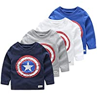 vinnytido Autumn Baby Boys Long Sleeved T-Shirt Captain America Streetwear 100% Cotton Boys T Shirt 2-6year