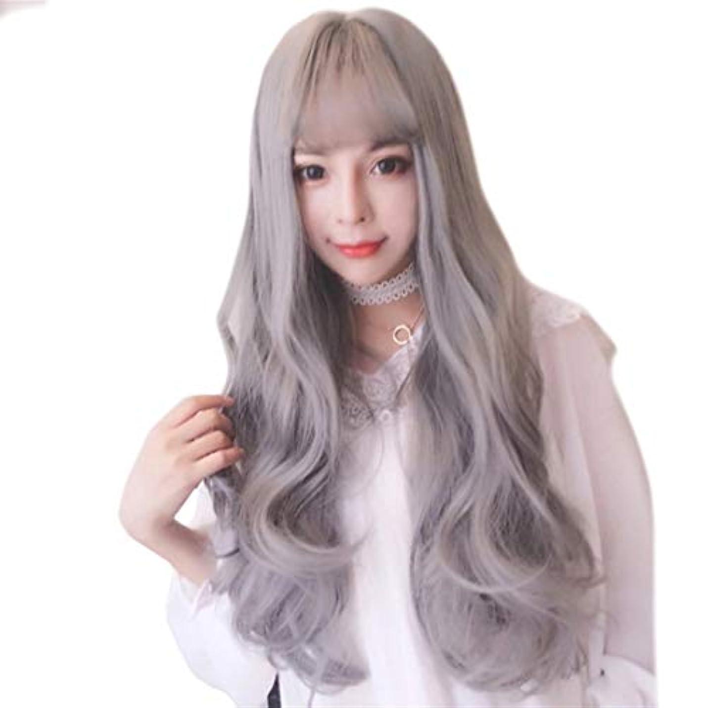 無線新しさ裸Kerwinner 女性の前髪自然な波長い巻き毛の耐熱性合成かつらをかつら