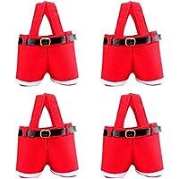 Vosarea 4本のクリスマスギフトバッグサンタプレゼントバッグクリスマスショッピングバッグサンタクロースクリスマスファブリックバッグクリスマスパーティー用品