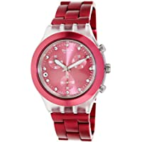 Swatch Women's SVCK4050AG Full-Blooded Raspberry Year-Round Chronograph Quartz Pink Watch