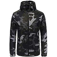 メンズプルオーバーパーカースウェットシャツ| Camouflage Printed Zip Up長袖フード付きスウェットシャツ|アスレチックパーカージャケットスポーツアウター XXXL ブラック IN-1
