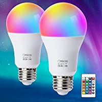 Pretigo A19 E26 LED 色が変わる電球 4モード 16色に変化 調光可能 6W 470lm デイライトホワイトとリモートコントローラー付き 40W相当 ホーム装飾 パーティー用 (2個パック)