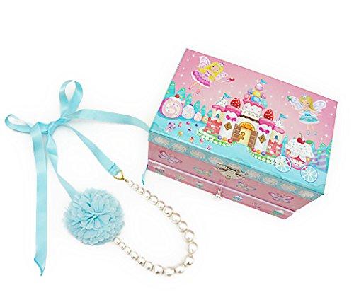 [해외]Lily &  Ally 포장 된 선물에 딱   릴리 앤 앨리 스위트 페어리 오르골 키즈 보석 상자 (곡목 : 별에 소원을 When you wish upon a star) 코튼 펄 쉬폰 꽃 리본 목걸이와 Lil .../Lily &  Ally wrapped and perfect for gifts   Lily and Alley Suit...