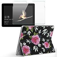 Surface go 専用スキンシール ガラスフィルム セット サーフェス go カバー ケース フィルム ステッカー アクセサリー 保護 花 フラワー 黒 ピンク 011113