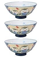 3個セット ふくろう毛料(青) [ 142 x 62mm ]【 夫婦飯碗 】 【 和食器 飲食店 お祝い 夫婦 】