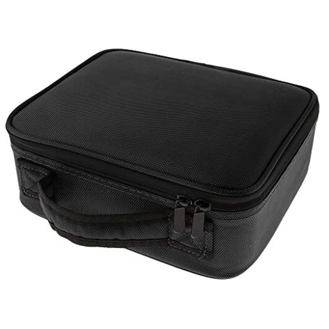 Perfeclan メイクケース メイクボックス 化粧箱 コスメケース 仕切り メイク小物 雑貨收納 大容量 贈り物 - ブラックS