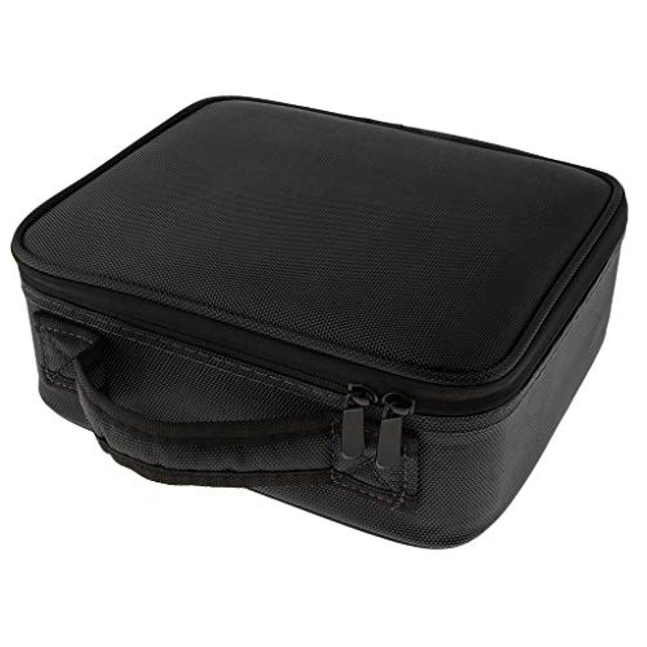 財布化粧撤回するメイクケース メイクボックス 化粧箱 コスメケース 仕切り メイク小物 雑貨收納 大容量 贈り物 - ブラックS