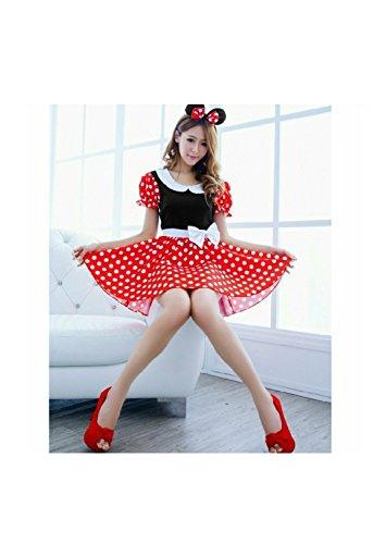 ミニーちゃん風 メイド衣装 コスチューム 赤 水玉 フリーサイズ