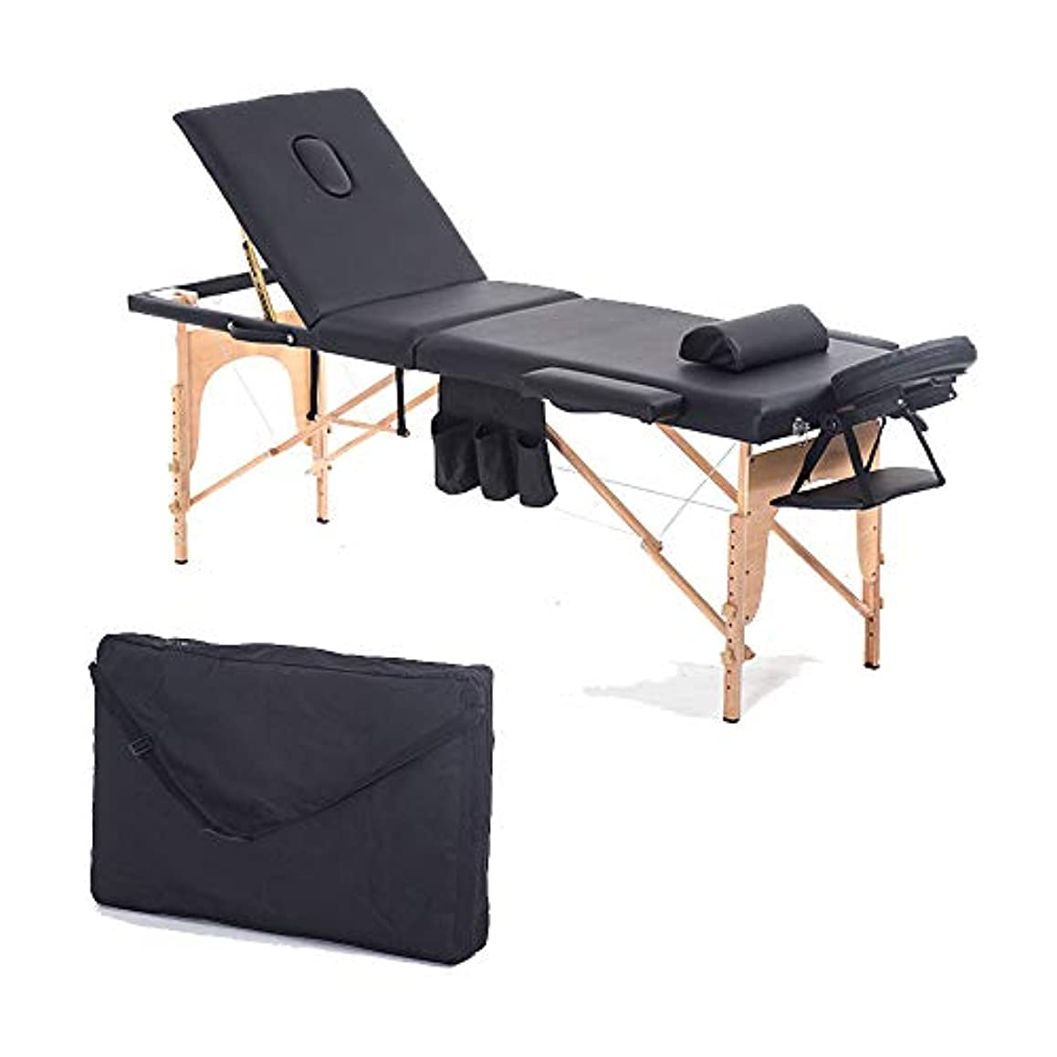 十液化する滑り台3節マッサージベッドポータブルサロン家具木製ベッド折り畳み式のビューティーボディ?フェイシャル?スパタトゥータイマッサージベッド