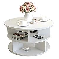 HANSHAN サイドテーブル ソファサイドテーブルモダンなコーヒーテーブルスナックテーブルのリビングルームのベッドルームスモールラウンドテーブル2サイズ(ホワイト) 多機能 (サイズ さいず : L-50CM)
