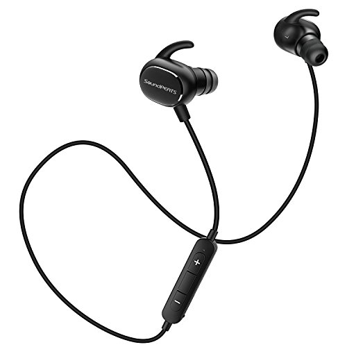 SoundPEATS(サウンドピーツ) Q15 Bluetooth イヤホン 高音質[メーカー直販/1年保証付]Bluetooth 4.1+apt-Xコーデック採用 超軽量/超小型/防水/防滴 スポーツタイプ ブルートゥース イヤホン ハンズフリー通話 CVC6.0 ノイズキャンセリング搭載 ワイヤレス イヤホン Bluetooth ヘッドホン ブラック