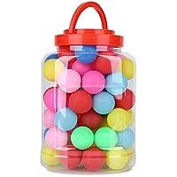 カラフル 卓球 ピンポンボール 玉 練習用 宝くじ 抽選 ゲーム 装飾ボール 安全無毒 薄型軽量 60個入り ランダムミックス 透明ケース付き