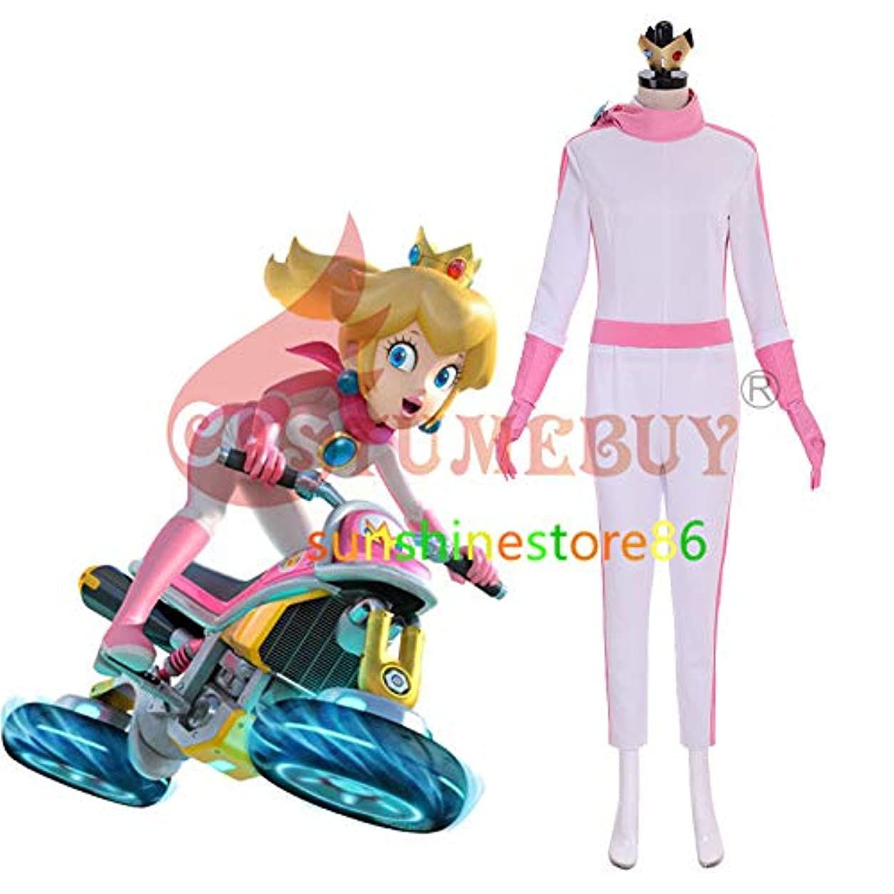 パノラマ責める従来のディズニーマリオカート 8 ピーチ姫 BikeSuit コスプレ衣装