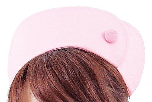 医療ユニフォーム ナースキャップ  看護帽子(ボタン) 渡辺雪三郎ライン KAZEN ピンク フリー YW61-6
