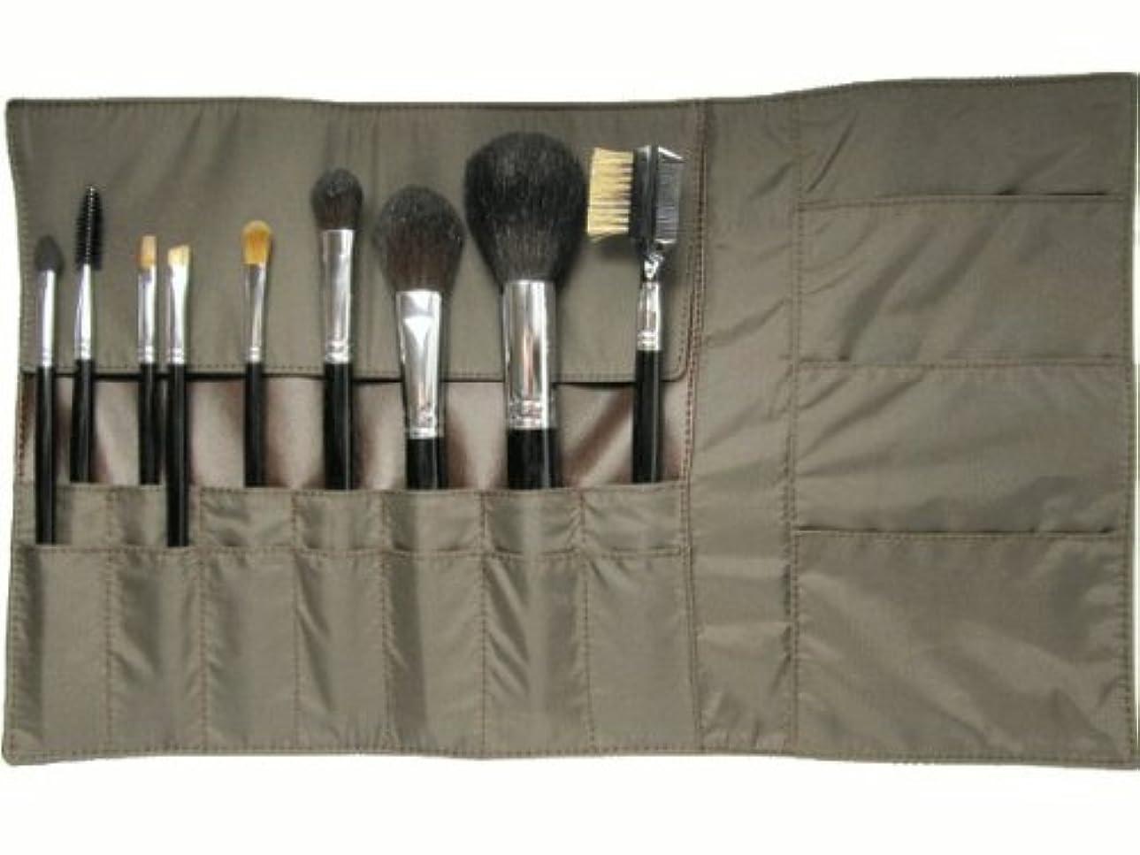 シャープ記述するするだろうメイクブラシ9点セット & 携帯用化粧ポーチ 熊野筆 宮尾産業化粧筆 メイクブラシ MB101シリーズ