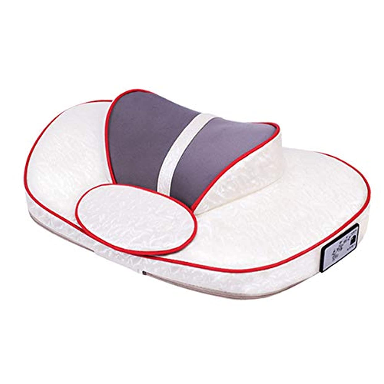 牽引頸部マッサージ、家庭用多機能インテリジェントボディネックウエストショルダー暖房を和らげる痛み枕パッドネック楽器,White